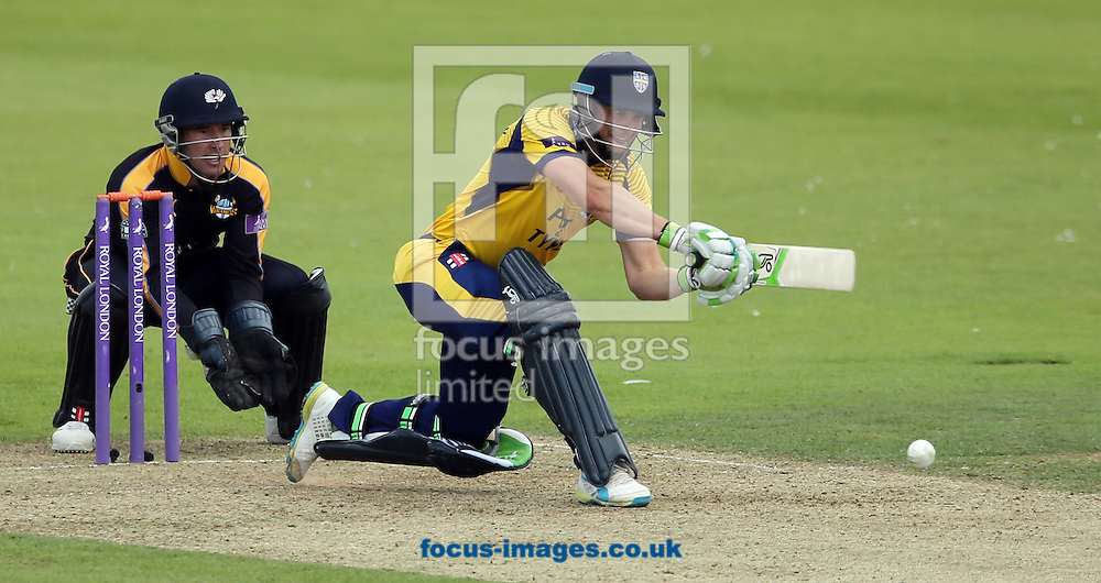 Scott Borthwick (r) of Durham CCC batting and Andy Hodd of Yorkshire Vikings during the Royal London One Day Cup match at Emirates Riverside, Chester-le-Street<br /> Picture by Simon Moore/Focus Images Ltd 07807 671782<br /> 31/07/2016