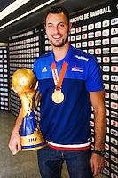 Jerome FERNANDEZ - 02.02.2015 - Equipe de France de Handball - Retour Championnats du Monde 2015 - Aeroport Roissy CDG -Paris<br /> Photo : Johnny Fidelin / Icon Sport