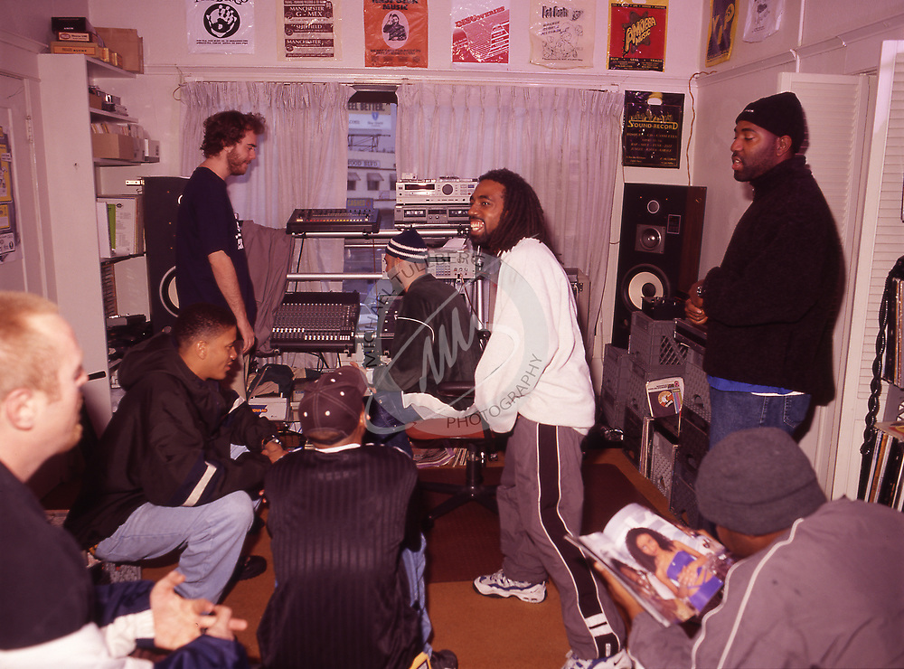Hip-hop group Jurassic 5 relaxing in their rehearsal space in Los Angeles, 1999.