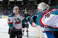 KELOWNA, CANADA - JANUARY 30: Kaedan Korczak #6 of the Kelowna Rockets fist bumps the bench to celebrate a goal against the Seattle Thunderbirds  on January 30, 2019 at Prospera Place in Kelowna, British Columbia, Canada.  (Photo by Marissa Baecker/Shoot the Breeze)