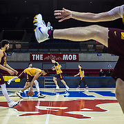 Loyola University Chicago Men's Basketball players  practice at Southern Methodist University in Dallas, TX., on Tuesday, March 13, 2018. Loyola takes on the University of Miami in the first round of the NCAA Tournament on Thursday, March 15, 2018. (Photo: Lukas Keapproth)
