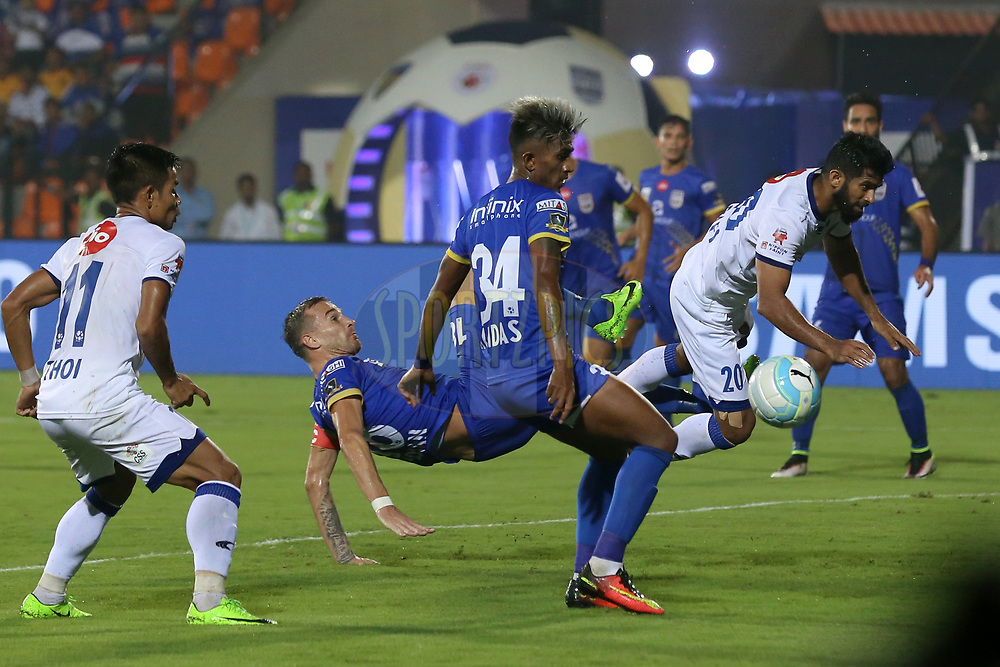 Mohammed Rafi of Chennaiyin FC  try to score a goal during match 22 of the Hero Indian Super League between Mumbai City FC and Chennaiyin FC  held at the Mumbai Football Arena, Mumbai India on the 10th December 2017<br /> <br /> Photo by: Faheem Hussain / ISL / SPORTZPICS