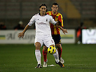Lecce (LE), 16-01-2011 ITALY - Italian Soccer Championship Day 20 -  Lecce - Milan..Pictured: Ibrahimovic (M) - Gustavo (L).Photo by Giovanni Marino/OTNPhotos . Obligatory Credit