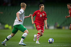 DUBLIN, REPUBLIC OF IRELAND - Friday, May 27, 2011: Wales' David Vaughan in action against Northern Ireland during the Carling Nations Cup match at the Aviva Stadium (Lansdowne Road). (Photo by David Rawcliffe/Propaganda)