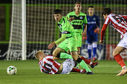 Forest Green Rovers Lewis Spurrier(8) comes away with the ball during the FA Youth Cup match between U18 Forest Green Rovers and U18 Cheltenham Town at the New Lawn, Forest Green, United Kingdom on 29 October 2018.