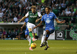 Hibernian's Martin Boyle (Left) vies with Molde's Ruben Gabrielsen (Right) during the UEFA Europa League third qualifying round, first leg match at Easter Road, Edinburgh.