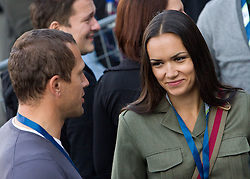 Jure Kosir and his wife Alenka during Ski Jumping Summer Continental Cup in Kranj and last jump of Primoz Peterka's career, one of the best ski jumpers in history, on July 2, 2011, in Kranj, Slovenia. (Photo by Vid Ponikvar / Sportida)