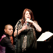 May 14, 2011 - Manhattan, NY : .Corina Bartra (vocals) is accompanied by Arturo O'Farrill (NOT PICTURED) and the Afro-Latin Jazz Orchestra as she performs 'Yambambo' during Symphony Space's Wall to Wall Sonidos concert on Saturday night. .CREDIT: Karsten Moran for The New York Times