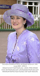 The HON.CAMILLA CECIL at Royal Ascot on 19th June 2001. 	OPN 3