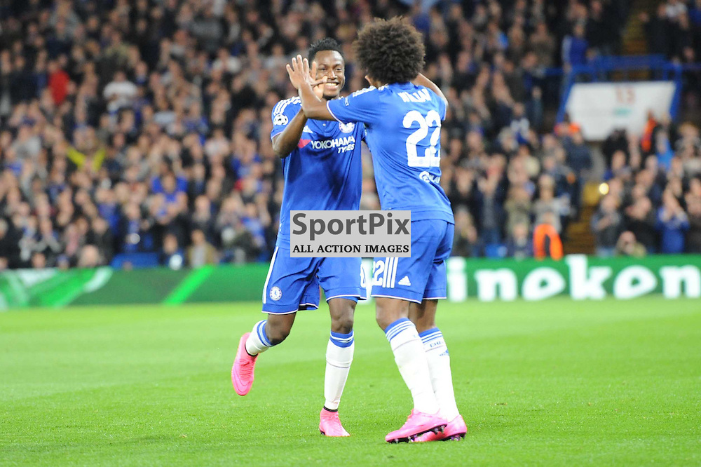 The Chelsea players celebrates Willians goal during the Chelsea v Maccabi Tell-Aviv champions league match in the group stage.