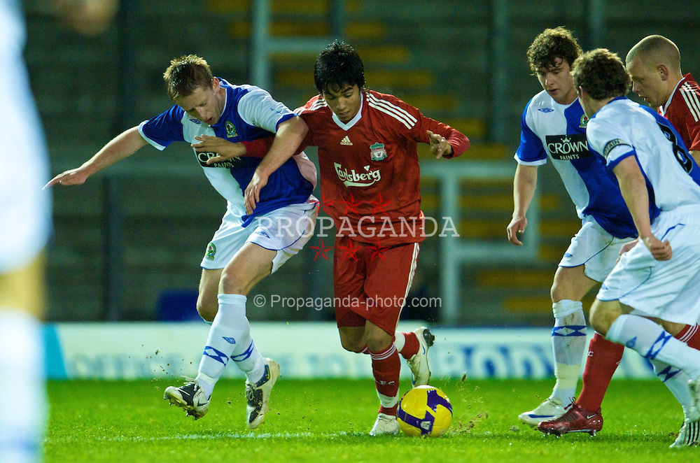 WARRINGTON, ENGLAND - Thursday, December 4, 2008: Liverpool's Gerardo Bruna in action against Blackburn Rovers during the FA Premiership Reserves League (Northern Division) match at the Halliwell Jones Stadium. (Photo by David Rawcliffe/Propaganda)