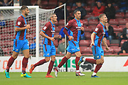 Ryan Colclough celebrates scoring the second goal 2-0 during the EFL Sky Bet League 1 match between Scunthorpe United and Rochdale at Glanford Park, Scunthorpe, England on 8 September 2018.
