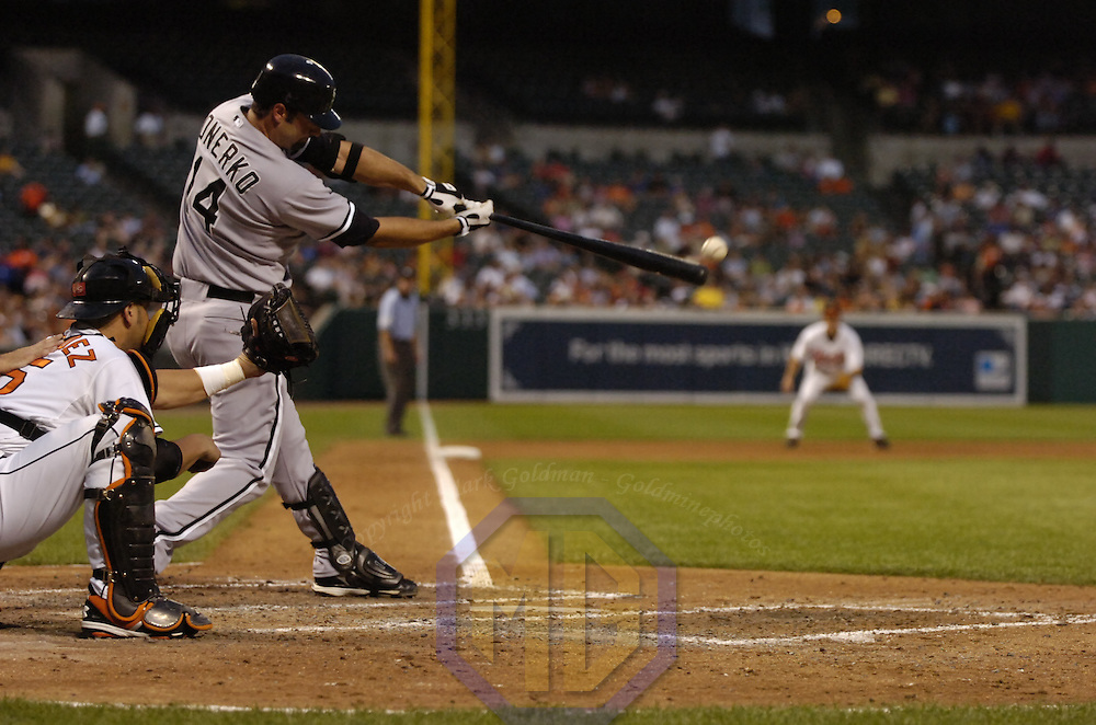 12 July 2007:  Chicago White Sox first baseman Paul Konerko (14) in action against the Baltimore Orioles.  The White Sox defeated the Orioles 9-7 at Camden Yards in Baltimore, MD.   ****For Editorial Use Only****