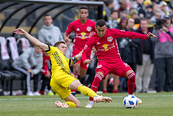November 4, 2018 - Columbus, OH, U.S. - COLUMBUS, OH - NOVEMBER 04: Columbus Crew midfielder Will Trapp (6) slides in and kicks the ball away from New York Red Bulls midfielder Alejandro Romero Gamarra (10) in the MLS eastern conference semifinals game between the Columbus Crew SC and the New York Red Bulls on November 04, 2018 at Mapfre Stadium in Columbus, OH. (Photo by Adam Lacy/Icon Sportswire) (Credit Image: © Adam Lacy/Icon SMI via ZUMA Press)