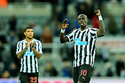 Mohamed Diame (#10) of Newcastle United reacts after Newcastle United win their first game of the season following the Premier League match between Newcastle United and Watford at St. James's Park, Newcastle, England on 3 November 2018.