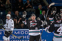 KELOWNA, CANADA - FEBRUARY 16: Tyson Baillie #24 of Kelowna Rockets celebrates a goal against the Red Deer Rebels on February 16, 2016 at Prospera Place in Kelowna, British Columbia, Canada.  (Photo by Marissa Baecker/Shoot the Breeze)  *** Local Caption *** Tyson Baillie;
