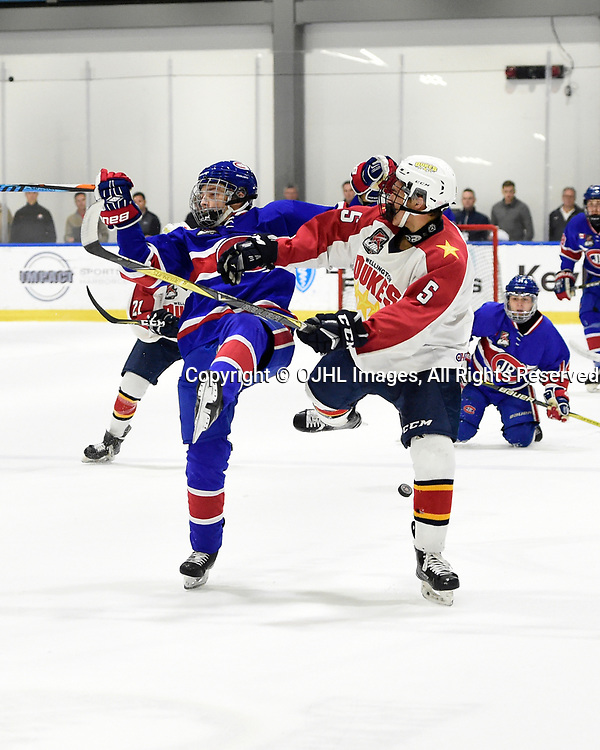 BUFFALO, NY - SEP 20,  2017: Ontario Junior Hockey League Governors Showcase game between the Toronto Jr. Canadiens and Wellington Dukes, Anton Trublin #47 of the Toronto Jr. Canadiens battles for control with Brett Thorne #5 of the Wellington Dukes during the first period. <br /> (Photo by Andy Corneau / OJHL Images)
