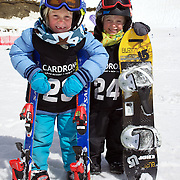 Twins, Finley, (left) and Campbell Melville-Ives, 5, from Wanaka, who are competing in the Grommet events during the Snow Sports NZ Junior Freeski and Snowboard Nationals at Cardrona Alpine Resort, Wanaka,  New Zealand, 27th September 2011. Photo Tim Clayton...
