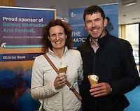 22/07/2015 repro free Brid Prendergast Knocnkacarra and Tom Predergast from Ballintubber at the Ulster Bank sponsored evening at The Galway International Arts Festival's production of Frank McGuinnesses'  The Match Box, starring Cathy Belton At the Town Hall Theatre. Photo:Andrew Downes.