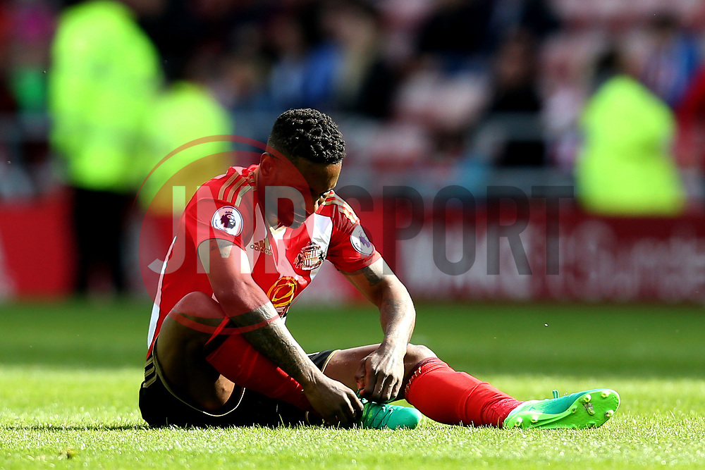 Jermain Defoe of Sunderland looks dejected after the loss to Swansea City - Mandatory by-line: Robbie Stephenson/JMP - 13/05/2017 - FOOTBALL - Stadium of Light - Sunderland, England - Sunderland v Swansea City - Premier League