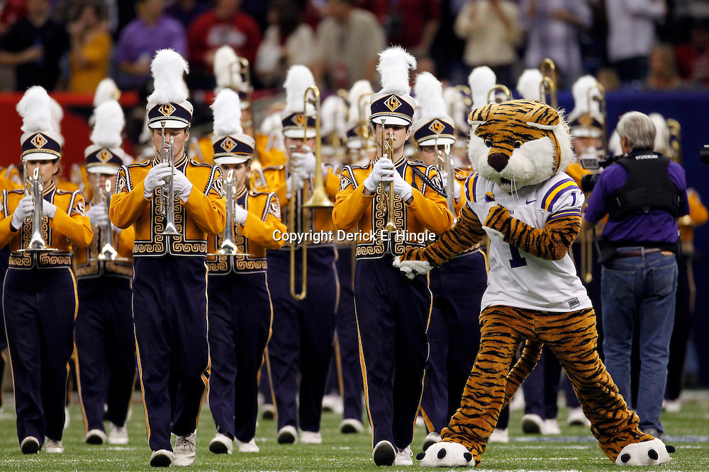 Jan 9, 2012; New Orleans, LA, USA; LSU Tigers mascot Mike performs before the 2012 BCS National Championship game against the Alabama Crimson Tide at the Mercedes-Benz Superdome.  Mandatory Credit: Derick E. Hingle-US PRESSWIRE