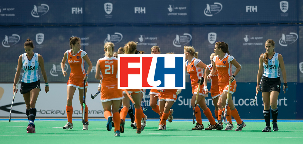 Netherlands' celebrate Kelly Jonker's equaliser during their Women's Champions Trophy Final at Highfields, Beeston, Nottingham, 18th July 2010.