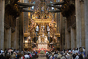 Mass being celebrated by priest in Roman Catholic cathedral, Catedral de Santiago de Compostela, Galicia, Spain