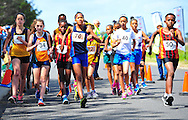 CAPE TOWN, SOUTH AFRICA - OCTOBER 10: junior athletes in the 3km race during the South African Race Walking Championship at Youngsfield Military Base on October 10, 2015 in Cape Town, South Africa. (Photo by Roger Sedres/ImageSA)