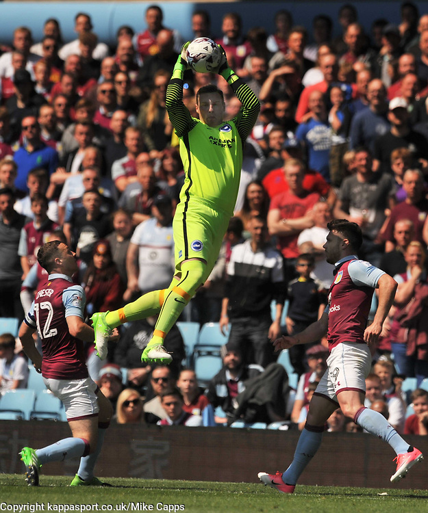DAVID STOCKDALE GOALKEEPER   BRIGHTON AND HOVE ALBION HOLDS Aston Villa v Brighton &amp; Hove Albion Sky Bet Championship Villa Park, Brighton Promoted to Premiership Sunday 7th May 2017 Score 1-1 <br /> Photo:Mike Capps