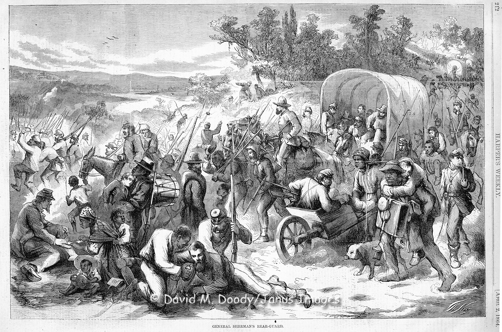 Civil War: General Sherman's rear guard on the March in Georgia. Harper's Weekly April 2, 1864 page 212 By Thomas Nast.