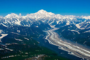 The Ruth Glacier flows down from the great heights of Mt. Denali, Alaska.