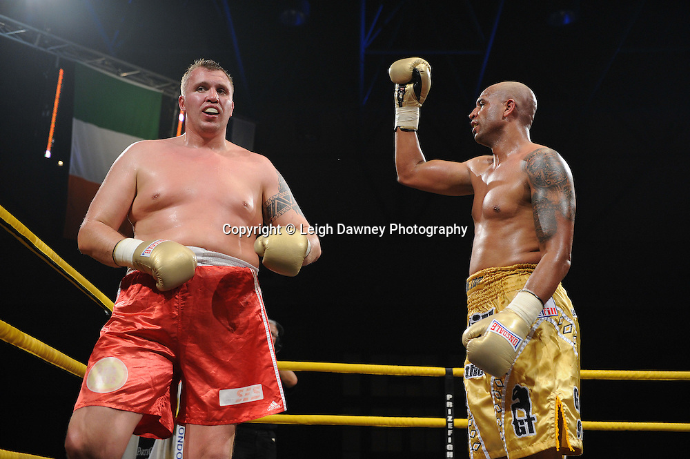 Gregory Tony (gold shorts) defeats Evgeny Orlov in Quarter Final 2 at Prizefighter International on Saturday 7th May 2011. Prizefighter / Matchroom. Photo credit © Leigh Dawney. Alexandra Palace, London.
