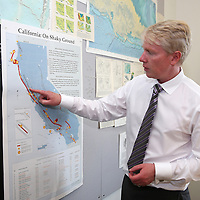 Richard M. Allen, Director of the Berkeley Seismological Laboratory shows the Napa area on a map in his office in Berkeley, California, on Monday, August 24, 2014.  On Sunday, a 6.1 magnitude earthquake caused significant damage and left three critically injured in California's northern Bay Area early Sunday, igniting fires, sending at least 87 people to a hospital, knocking out power to tens of thousands and sending residents running out of their homes in the darkness. Aftershocks are still being captured across the area by seismometers that are recording seismic data. (AP Photo/Alex Menendez)