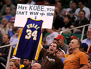 Utah fans goad Kobe before the start of the Lakers' 88-86 loss to the Utah Jazz in Game 3 of the Western Conference Playoffs Thursday. ..///ADDITIONAL INFO:  lakers.0424.kjs18.jpg  ---  Photo by Kevin Sullivan, The Orange County Register --  ..The Los Angeles Lakers take on the Utah Jazz in Game 3 of the Western Conference Playoffs at EnergySolutions Arena in Salt Lake City, Utah...Photographed Thursday April 23, 2009 at Staples Center...>.