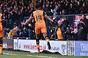 HUll City Forward, Chuba Akpom celebrates in front of the away fans during the The FA Cup fourth round match between Bury and Hull City at Gigg Lane, Bury, England on 30 January 2016. Photo by Mark Pollitt.