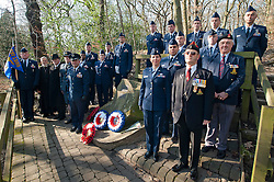 Lt Col Andres Nazario Commander and members of the 451st Intelligence Squadron based at RAF Menwith Hill join Sheffield locals and members of the RAF and Royal Air Force Association to lay wreathes on the anniversary of the Crash of Mi Amigo, a USAAF flying fortress which crashed in Endcliff Park park on the 22 February 1944 killing all 10 Crewmen onboard<br /> www.pauldaviddrabble.co.uk<br /> 19th February 2012 -  <br /> Image &copy; Paul David Drabble