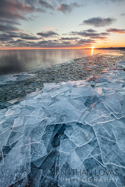 Artist's Point with ice and snow at sunset;  Grand Marais, MN.