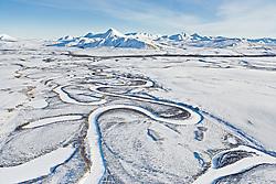 Blackstone River meanders across Blackstone Uplands, Tombstone Territorial Park, Yukon