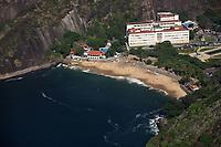 aerial view of praia vermelha from the sugar loaf in rio de janeiro brazil