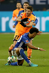 GELSENKIRCHEN, Feb. 18, 2018  Hoffenheim's Andrej Kramaric (L) and Schalke's Thilo Kehrer (Front) vie for the ball during the German Bundesliga soccer match between FC Schalke 04 and Hoffenheim, in Gelsenkirchen, western Germany, on Feb. 17, 2018. Schalke won 2-1. (Credit Image: © Joachim Bywaletz/Xinhua via ZUMA Wire)
