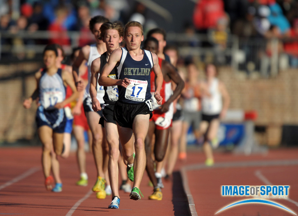 Apr 27, 2012; Philadelphia, PA, USA; Thomas Madden of Skyline (Va.) reacts after winning the championship 3,000m in 8:25.54 in the 118th Penn Relays at Franklin Field.
