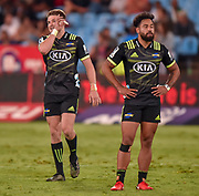 Beauden Barrett of the Hurricanes and Matt Proctor of the Hurricanes during the 2018 Super Rugby game between the Bulls and the Hurricanes at Loftus Versveld, Pretoria on 24 February 2018 © Christiaan Kotze/SASPA