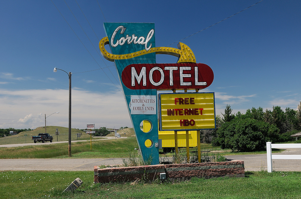 Corral Motel, Sign, Harlowton, Montana, USA