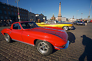 During summer from June to Septemper, every first Friday of the month is Vintage Car Cruising Night. Hundreds of classic American cars cruise around downtown Helsinki and meet at special places to have a good time, here at Kauppatori (Market Square), Uspenski orthodox cathedral in background. Sexiest beast of them all: Corvette Sting Ray Fastback Coupe?. 1959 Cadillac DeVille sedan in background.