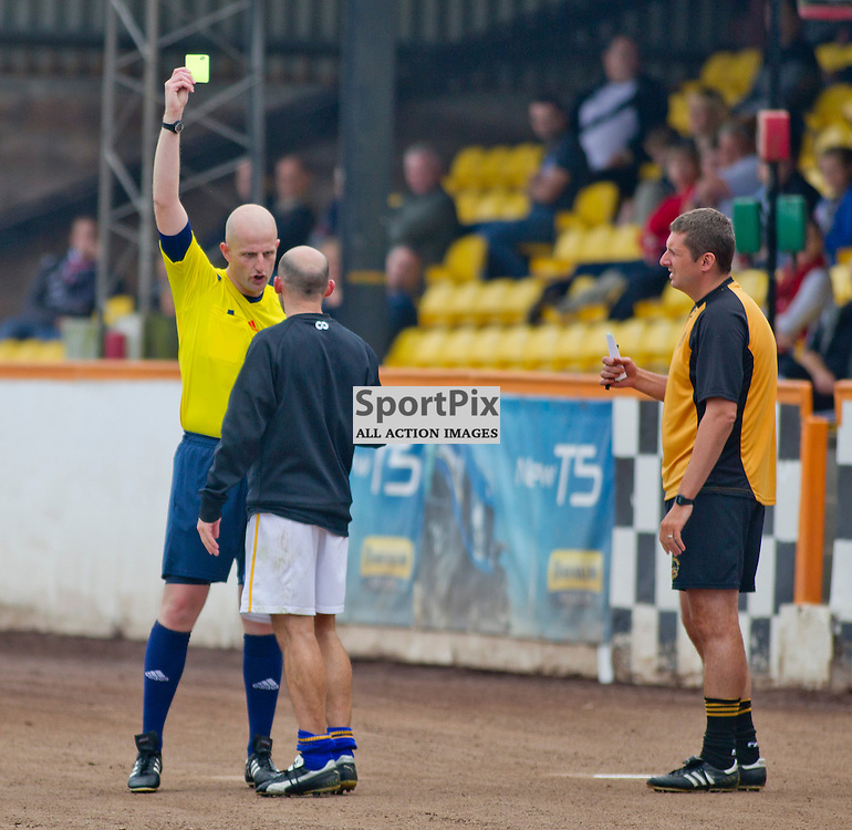 Berwick Rangers v Dunfermline Athletic Pre Season friendly Shielfield Park 19 July 2014<br /> Colin Cameron is shown a yellow card<br /> <br /> CRAIG BROWN | sportPix.org.uk