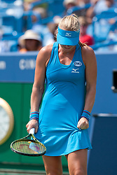 August 19, 2018 - Cincinnati, OH, USA - Western and Southern Open Tennis, Cincinnati, OH - August 19, 2018 - Kiki Bertens expresses frustration  after losing a point to  Simona Halep  in the finals of the Western and Southern Tennis tournament held in Cincinnati. Bertens won 2-6 7-6 6-2. - Photo by Wally Nell/ZUMA Press (Credit Image: © Wally Nell via ZUMA Wire)