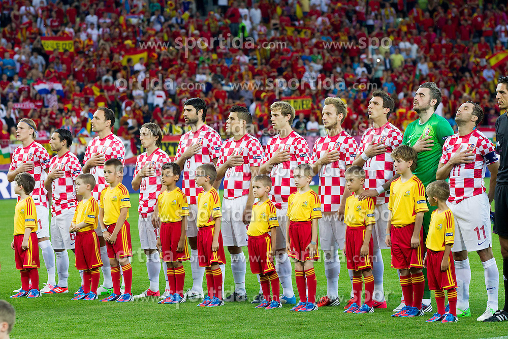 Team of Croatia singing national anthemn during the UEFA EURO 2012 group C match between  Croatia and Spain at PGE Arena Gdansk on June 18, 2012 in Gdansk / Danzig, Poland. Spain defeated Croatia and qualified to Quarterfinals. (Photo by Vid Ponikvar / Sportida.com)