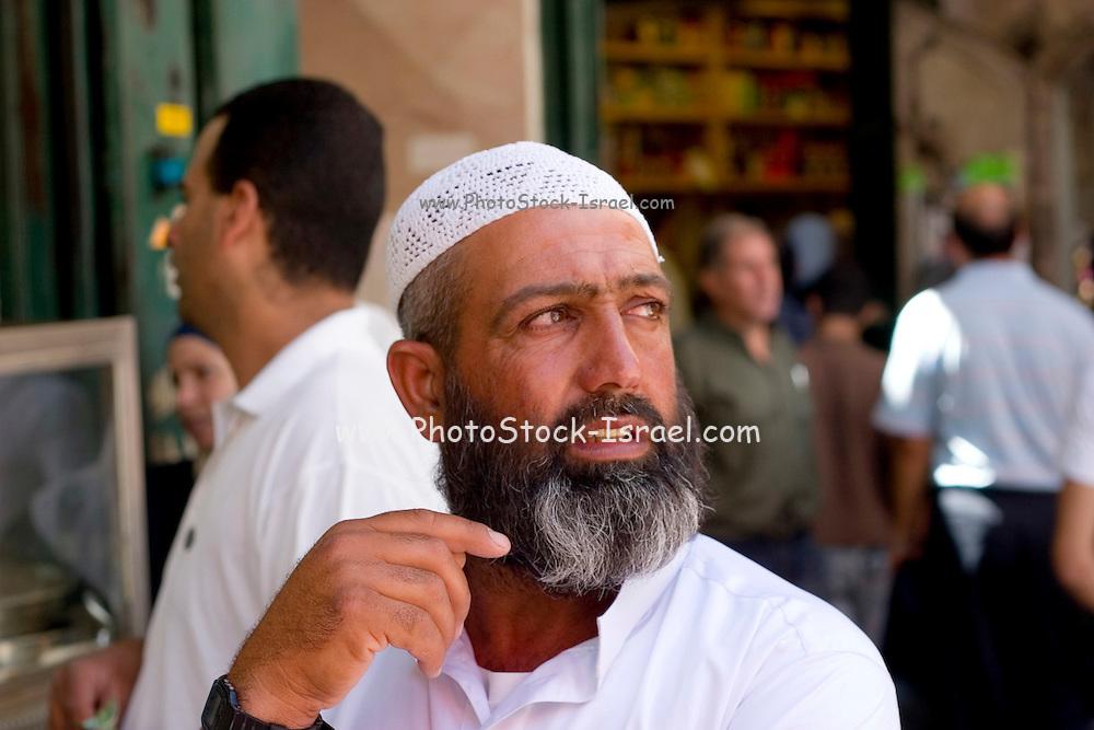 Israel, Jerusalem, A Muslim priest in the Muslim quarter of the old city