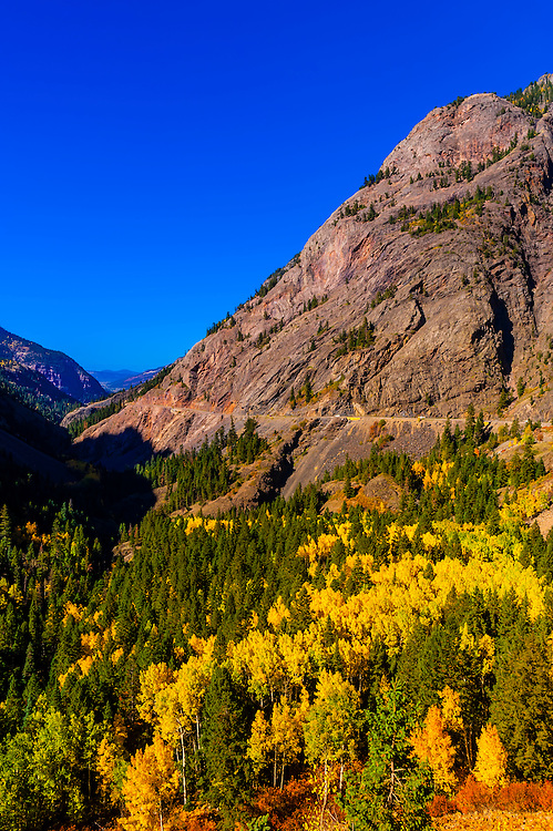 "Red Mountain Pass (called the ""Million Dollar Highway) in autumn, between Ouray and Silverton, Colorado USA."