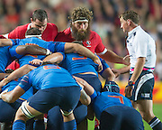 Milton Keynes, Great Britain, Prop, Hubert BUYDENS, get a word of advice from referee, JP  DOYLE, during the Pool D Game, France vs Canada.  2015 Rugby World Cup, Venue, StadiumMK, Milton Keynes, ENGLAND.  Thursday  01/10/2015<br /> Mandatory Credit; Peter Spurrier/Intersport-images]